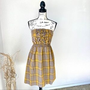 Anthropologie Maeve Plaid Yellow Strapless Dress M